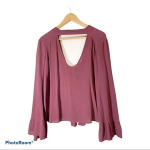 American Eagle XS bell sleeve chicken bow back top